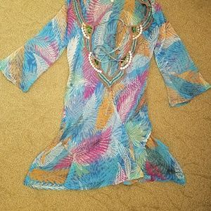 Colorful Beaded Beach Cover Up